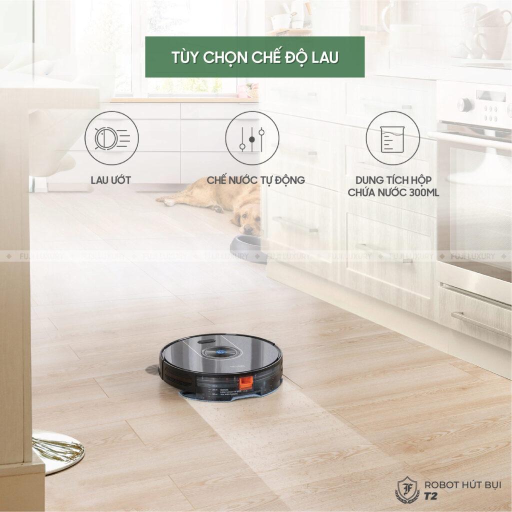 Robot Hút Bụi Lau Nhà Tự Động Fuji Luxury T2 - Hàng Chính Hãng