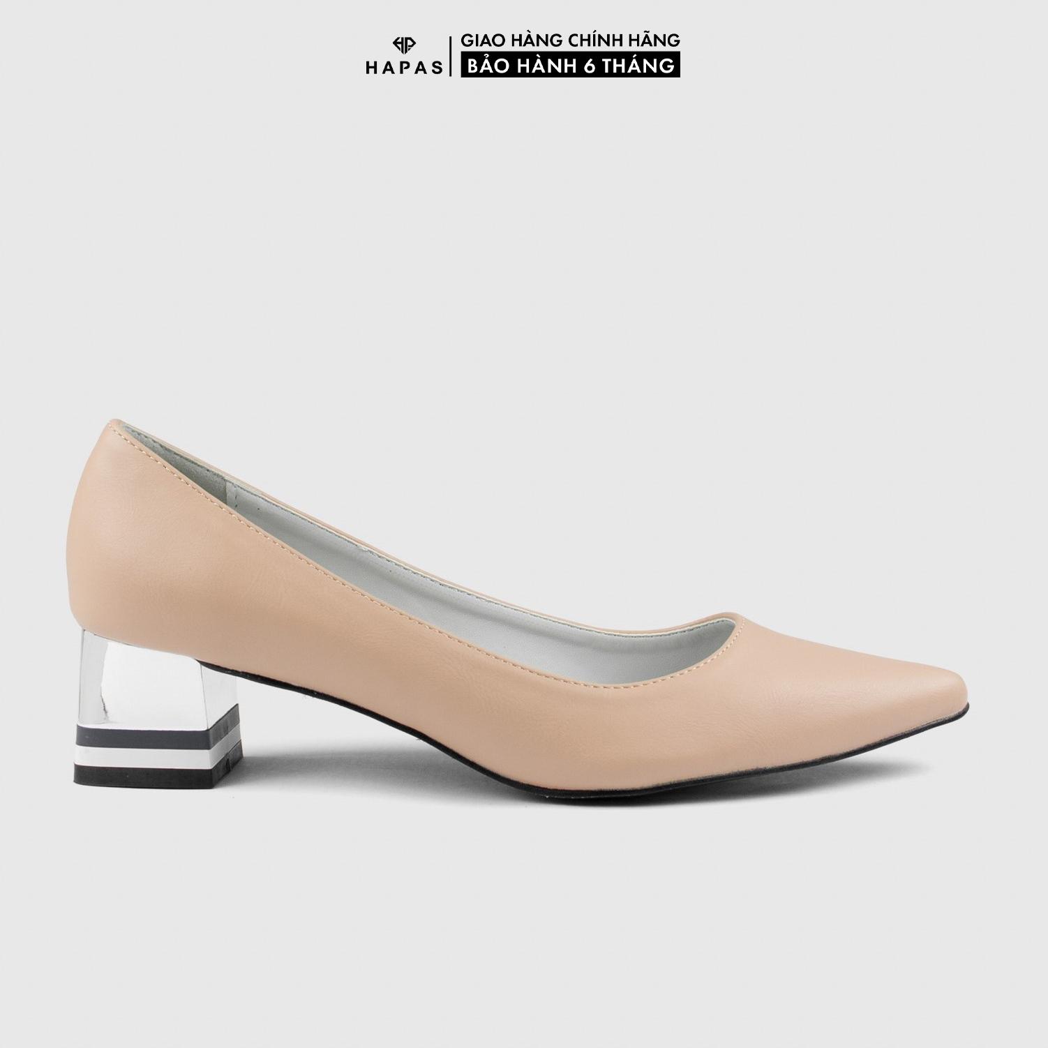 Giày Cao Gót Nữ Đế Vuông Da Mờ 5Phân HAPAS - CG5543