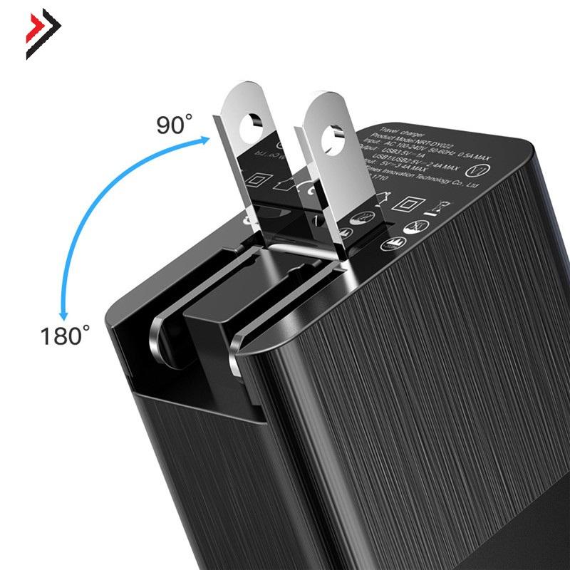 Củ sạc du lịch Baseus 3 Cổng USB chuẩn EU US UK Cắm 2.4A sạc nhanh QC 3.0 Đối Với iPhone X Samsung - Hàng chính Hãng