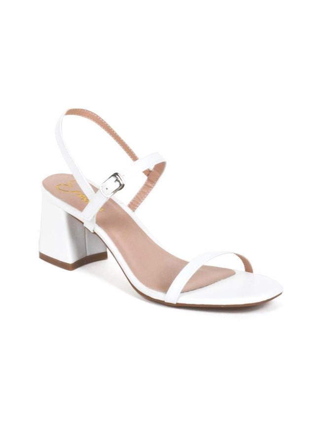 Giày Nữ Cao Gót Vuông Block Heels Erosska Quai Mảnh Tinh Tế Cao 7cm EM019 Màu Trắng