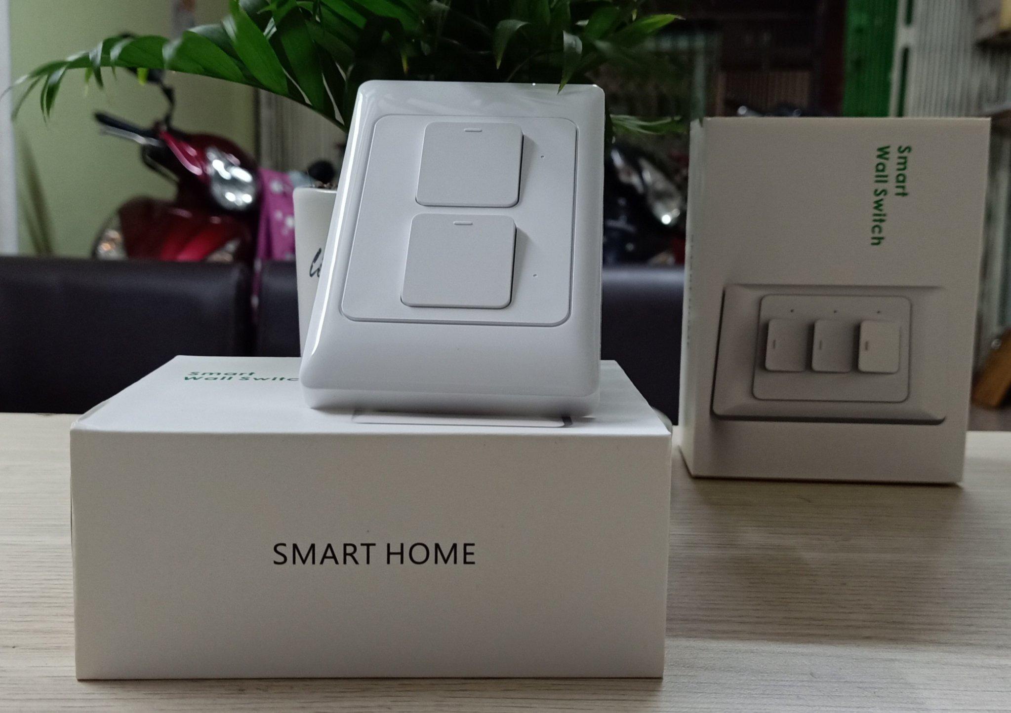 Công tắc cơ Wifi thông minh điều khiển 2 bóng đèn từ xa qua Smartphone HCN White - Hàng nhập khẩu
