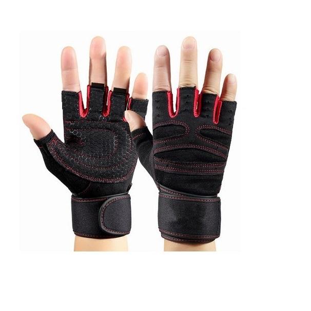 Găng tay thể hình tập GYM nam nữ, găng tay thể thao chống trơn xỏ ngón thoáng khí cao cấp - POKI