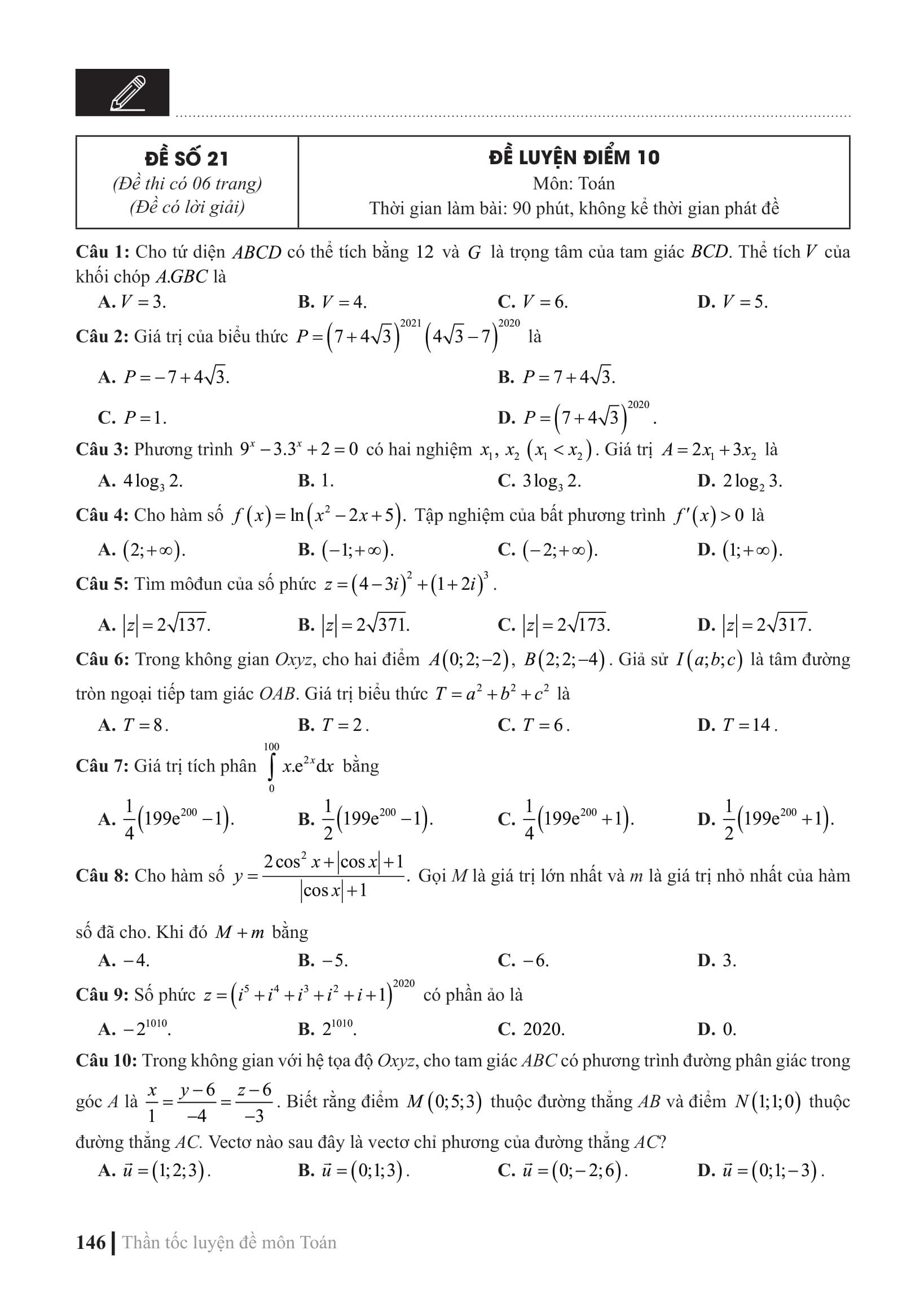 CC Thần tốc luyện đề 2021 môn Toán - Vật lý - Hóa học (3 cuốn)