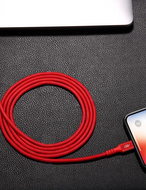 CÁP SẠC NHANH INNOSTYLE DURAFLEX 18W USB-C TO LIGHTNING 1.5M MFI IPHONE/IPAD/IPOD RED - Hàng Nhập Khẩu
