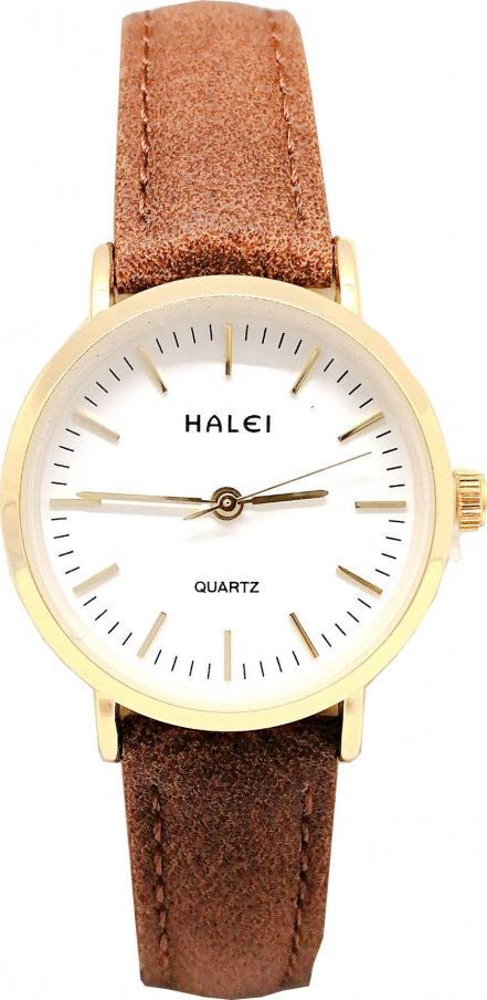Đồng hồ Nữ Halei - HL541 Dây da nâu - Trắng