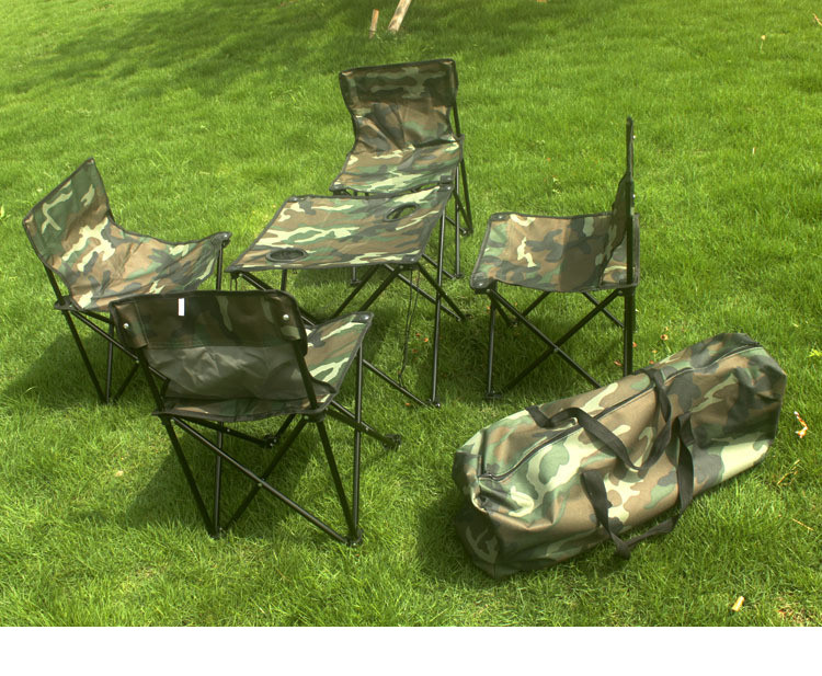 Bộ 1 bàn 4 ghế gập gọn màu Rằn Ri  dùng cho hoạt động dã ngoại, du lịch, Phượt thủ