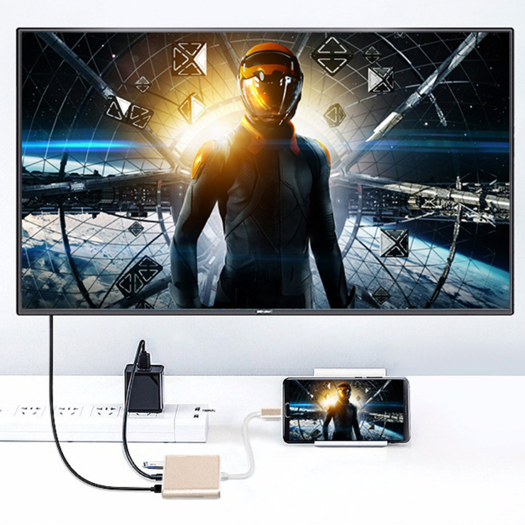 Hub chuyển đổi USB Type-C Sang USB 3.0/HDMI-Type C (Xám)