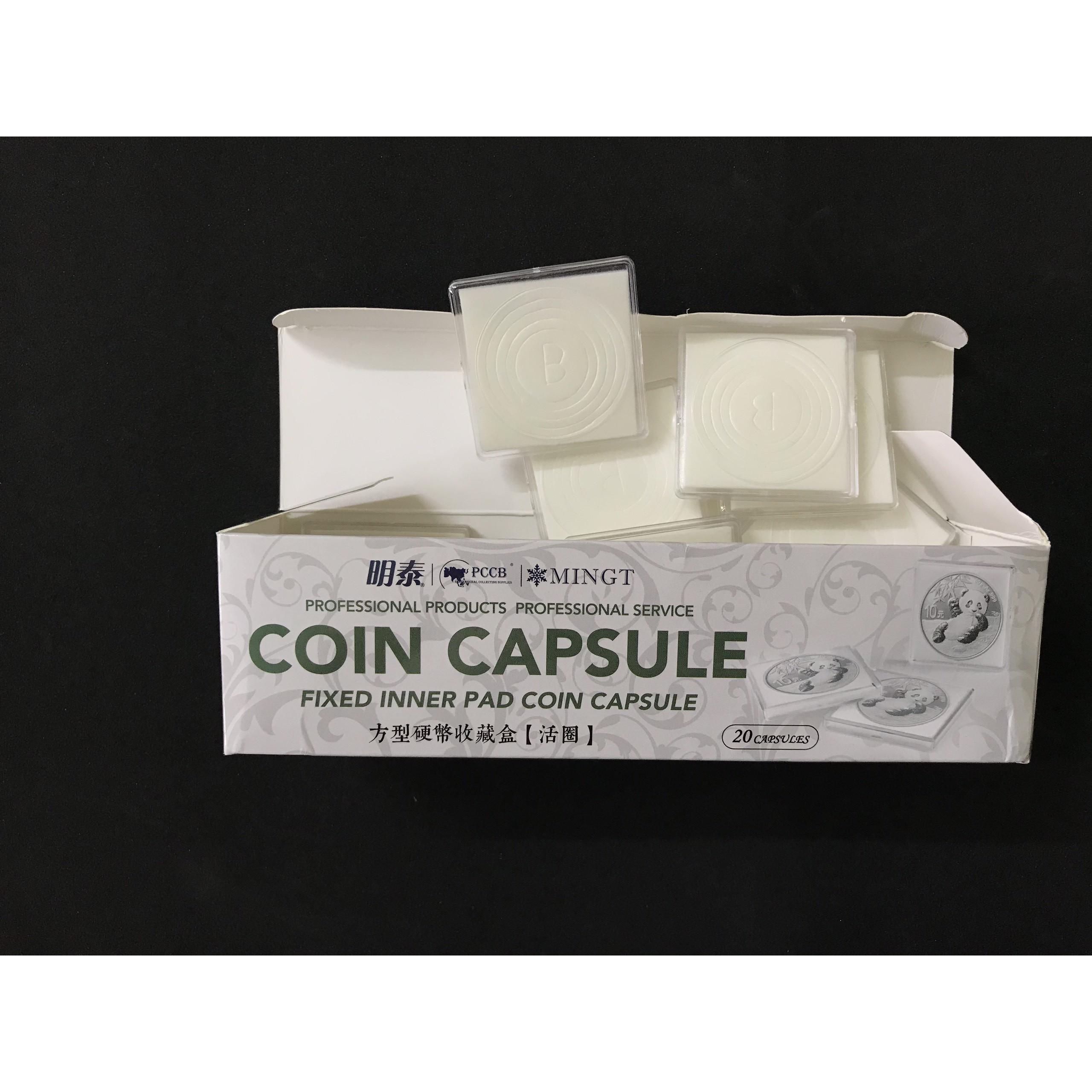 Hộp 20 Capsule vuông đựng xu màu trắng trong dùng để bảo quản xu sưu tầm - SP001180