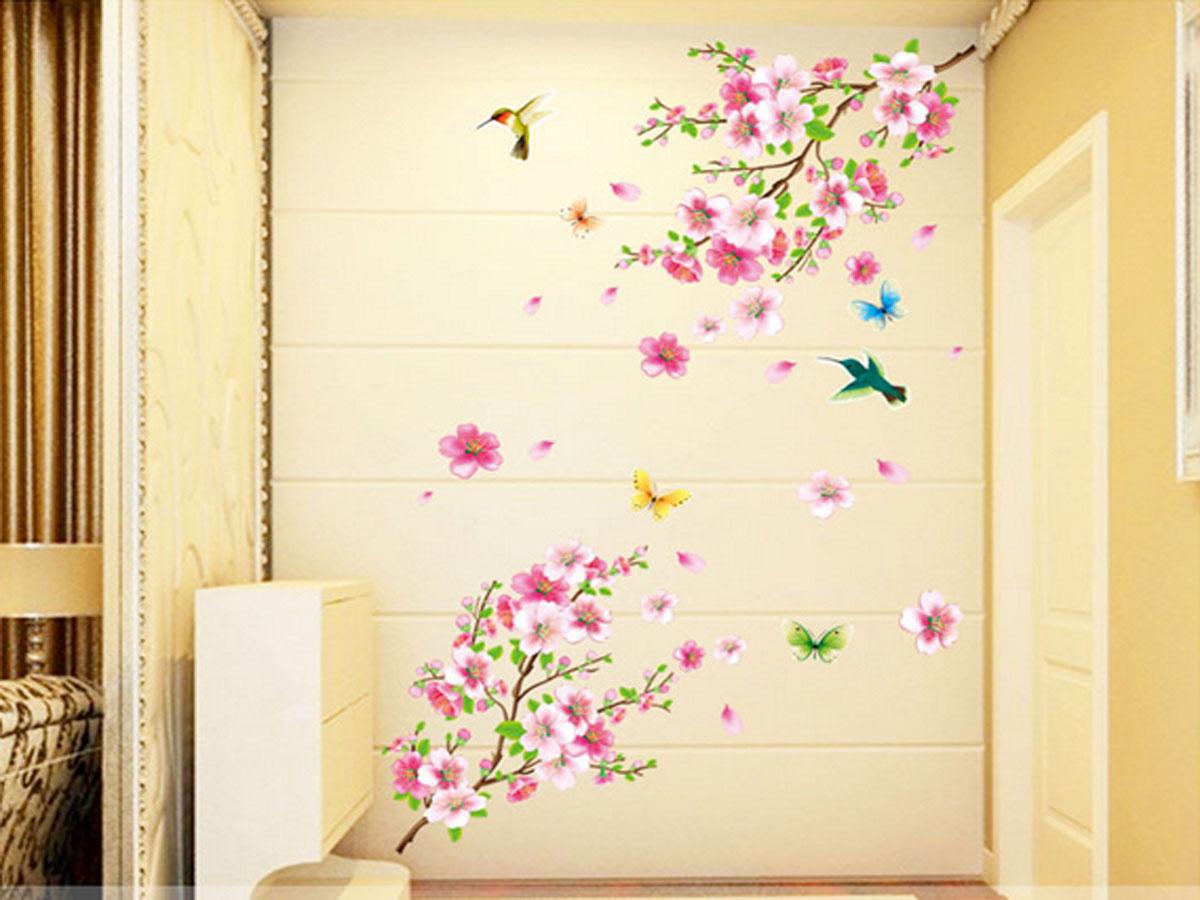 decal dán tường hoa đào mùa xuân ay9158