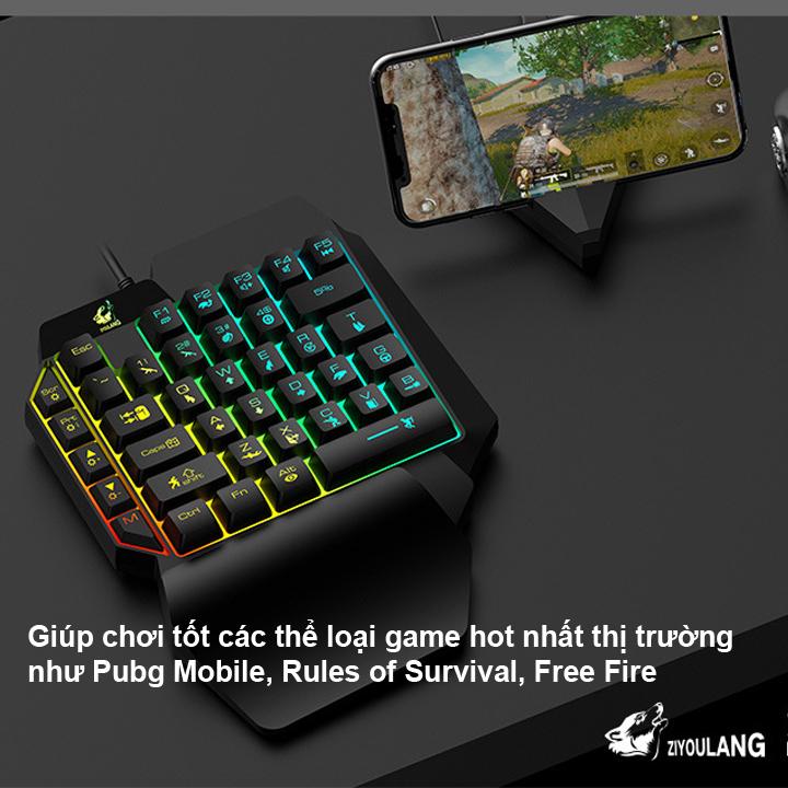 Bộ bàn phím giả cơ một tay HN K15 và chuột R8 1602 LED NHIỀU MÀU+Tặng kèm bộ chuyển đổi G5 và lót chuột chơi game Pubg Mobile, Rules of Survival, Free Fire trên điện thoại, máy tính bảng, Laptop và PC