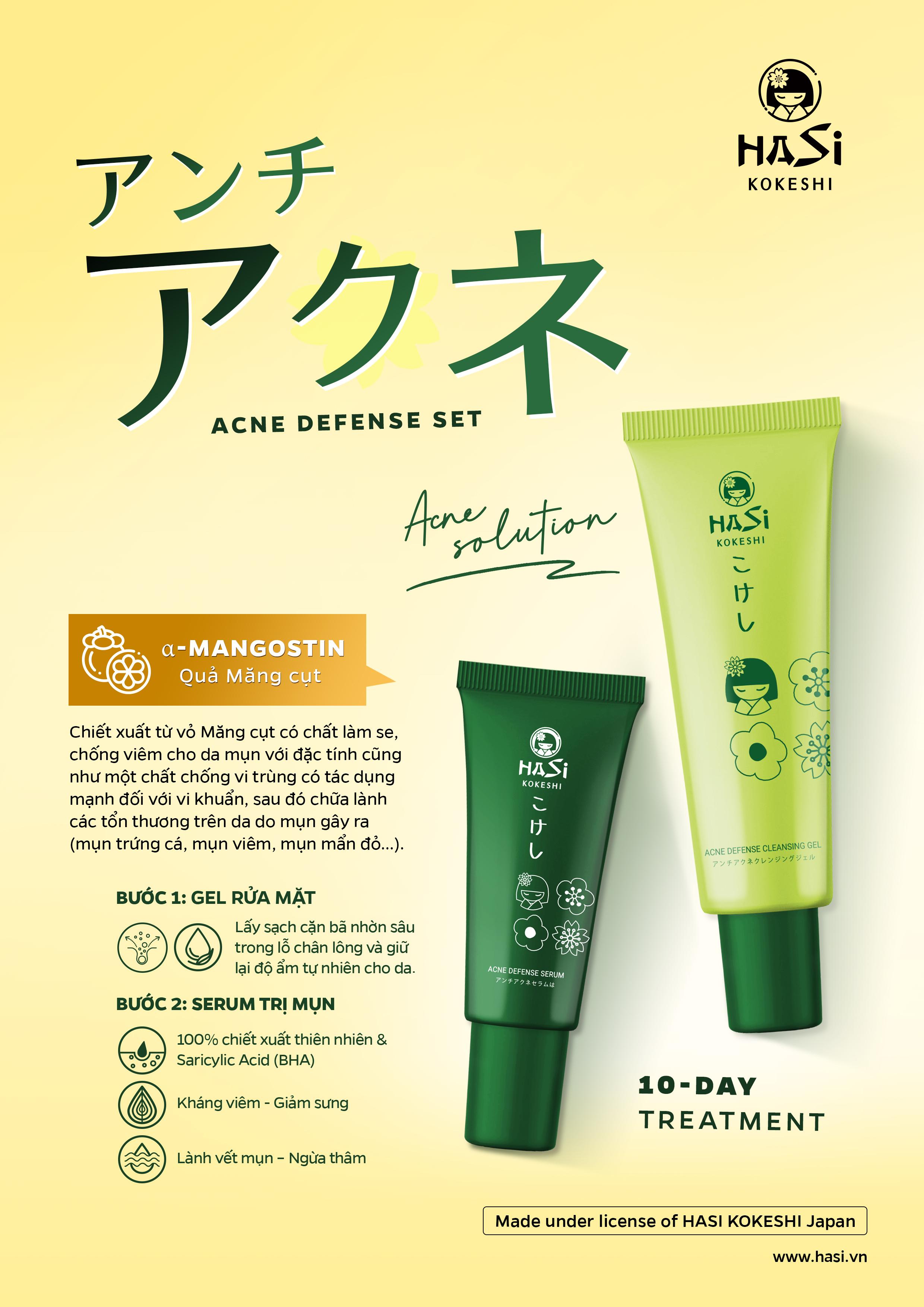 SET DƯỠNG CHO DA MỤN: SERUM & GEL RỬA MẶT - HASI KOKESHI ACNE DEFENCE SET (HSK 014)