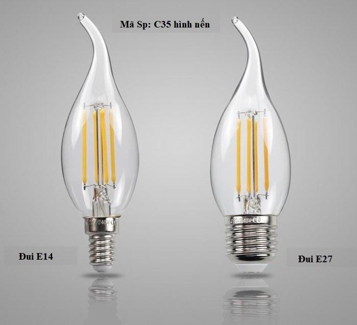 Bộ 10 bóng đèn Led Edison C35 4W hình nến đui E14