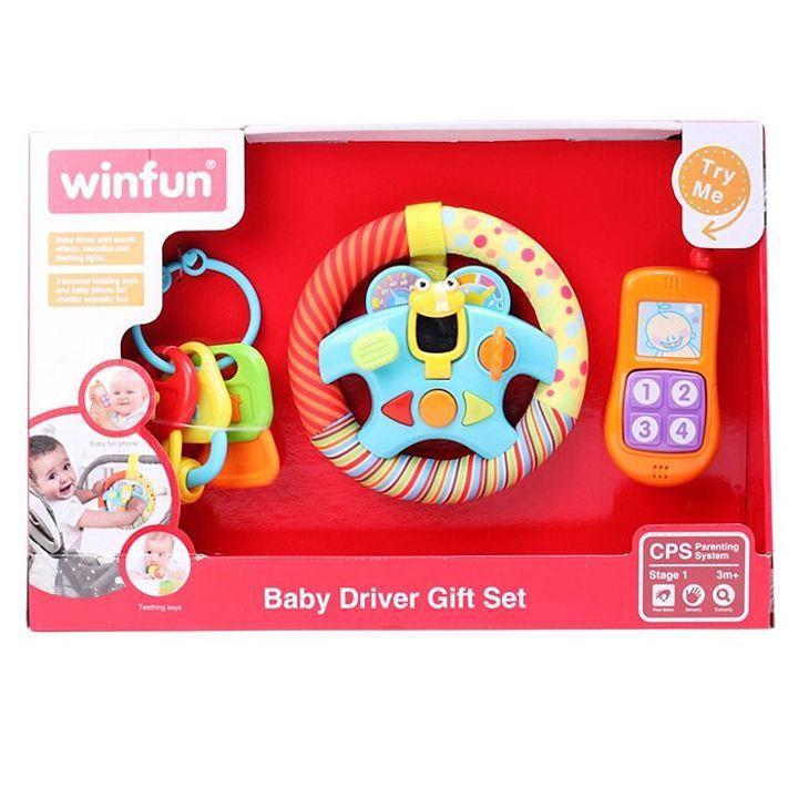 Set 3 món đồ chơi điện thoại, Vô lăng phát nhạc kèm chìa khóa gặm nướu Winfun 3025 - BPA free