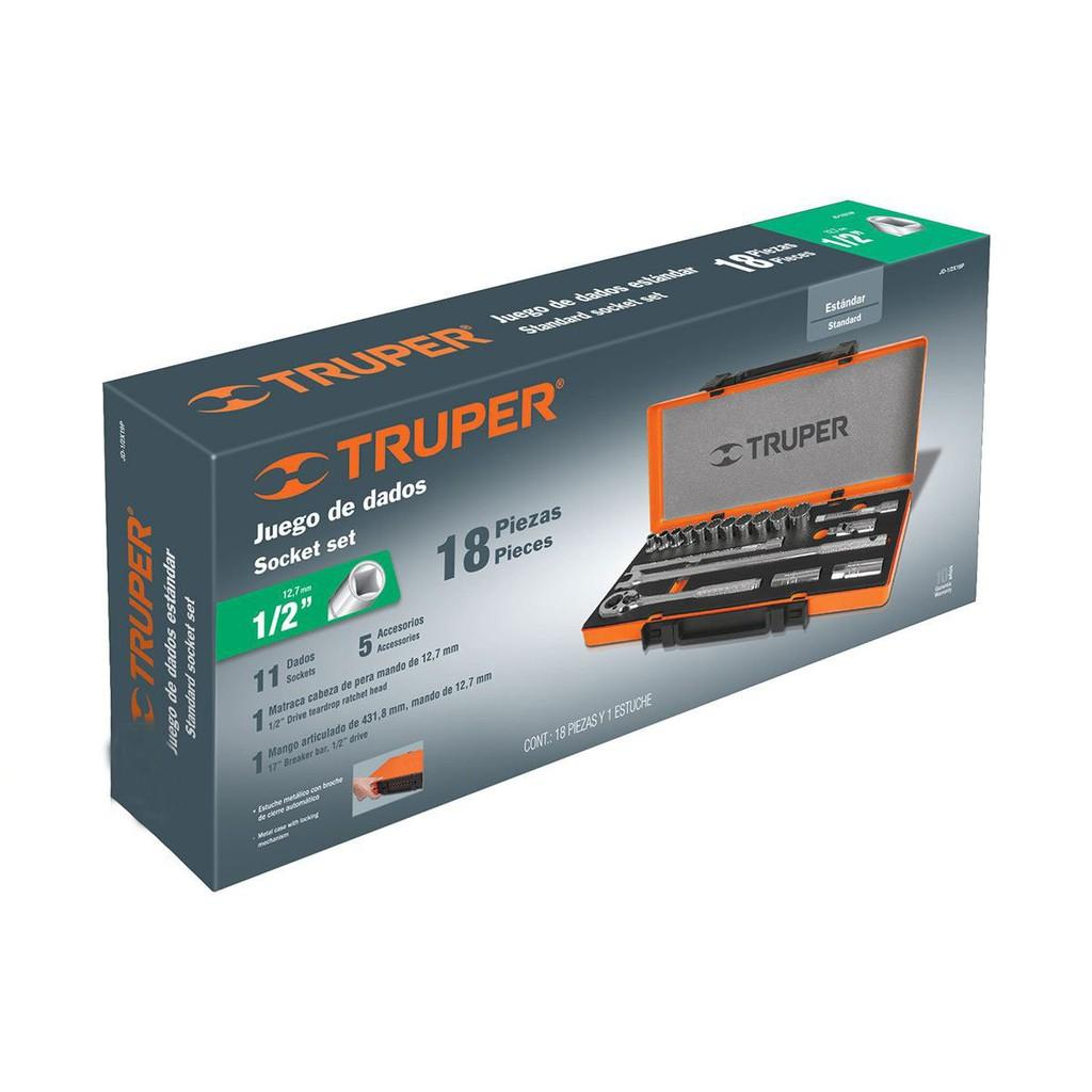 Bộ dụng cụ sửa chữa đa năng,Bộ đồ nghề đa năng,dụng cụ sửa xe,Bộ socket 19 chi tiết Truper jd-1/2x19m