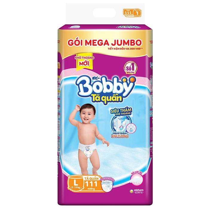 Hình ảnh Tã/bỉm quần Bobby gói Mega Jumbo L111 (9 - 13kg) [Tặng phao bơi hình thú INTEX]