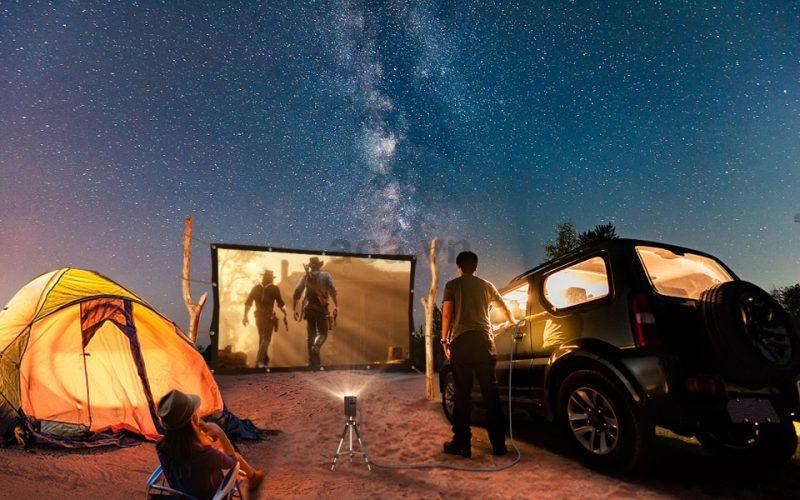 Máy chiếu mini Apollo 11-New 2021,Led tivi 4800 lumen,  Android TV 9.0, Pin 5200mAh, 150inch, hỗ trợ 4K- Hàng chính hãng