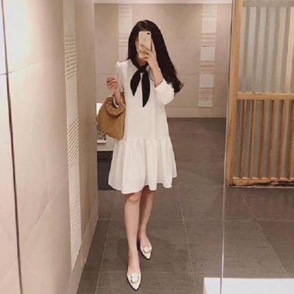 Váy Bầu đen trắng nơ cổ MYC 1265