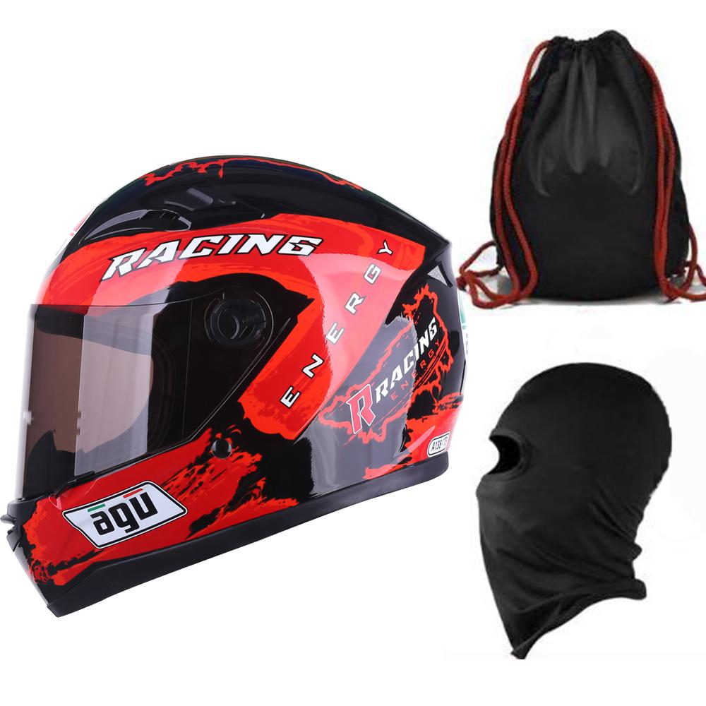 Mũ Bảo Hiểm Đẹp Fullface AGU Tem Racing + Khăn Ninja + Tặng kèm túi đựng nón chống trầy