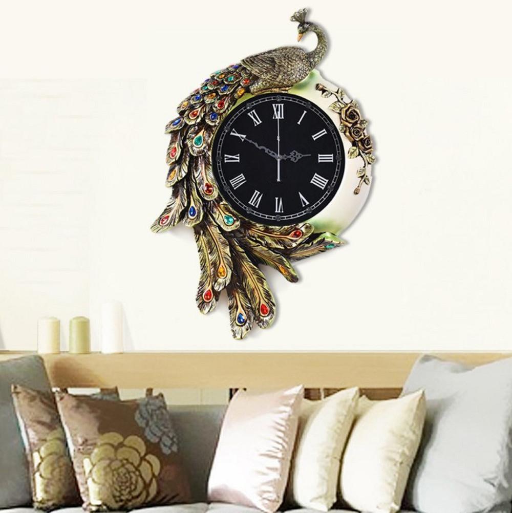 Đồng hồ treo tường trang trí chim khổng tước DNS18 (Cỡ lớn)