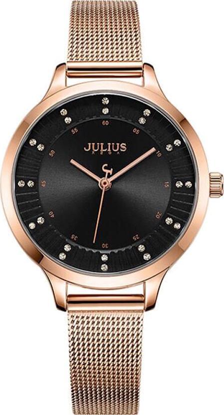 Đồng Hồ Nữ Julius JA-1058D Đồng Mặt Đen