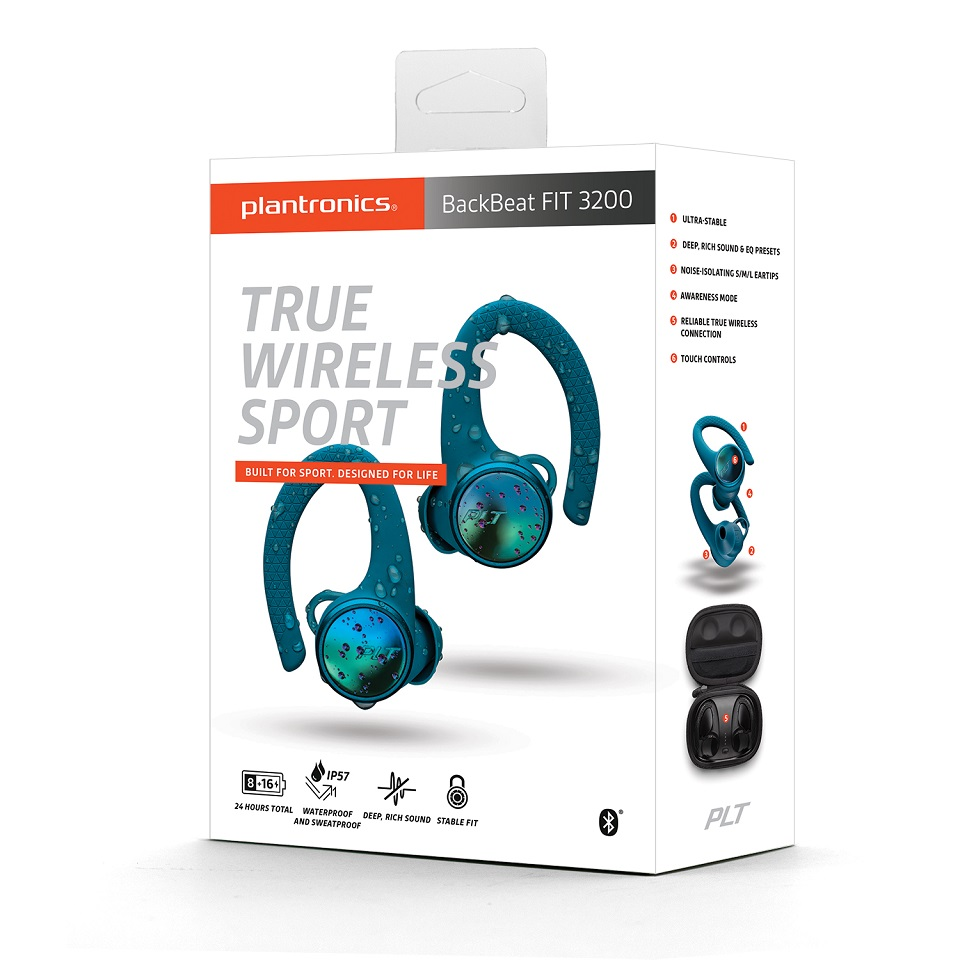 Tai nghe Bluetooth Plantronics Backbeat FIT 3200 True Wireless (Xanh Dương) - Hàng Chính Hãng