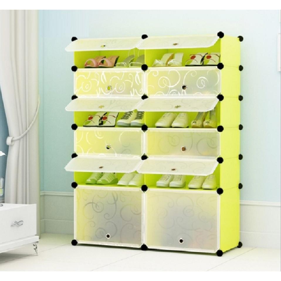 Tủ giày lắp ghép 12 ngăn - Vàng cửa trắng trong - 10-2