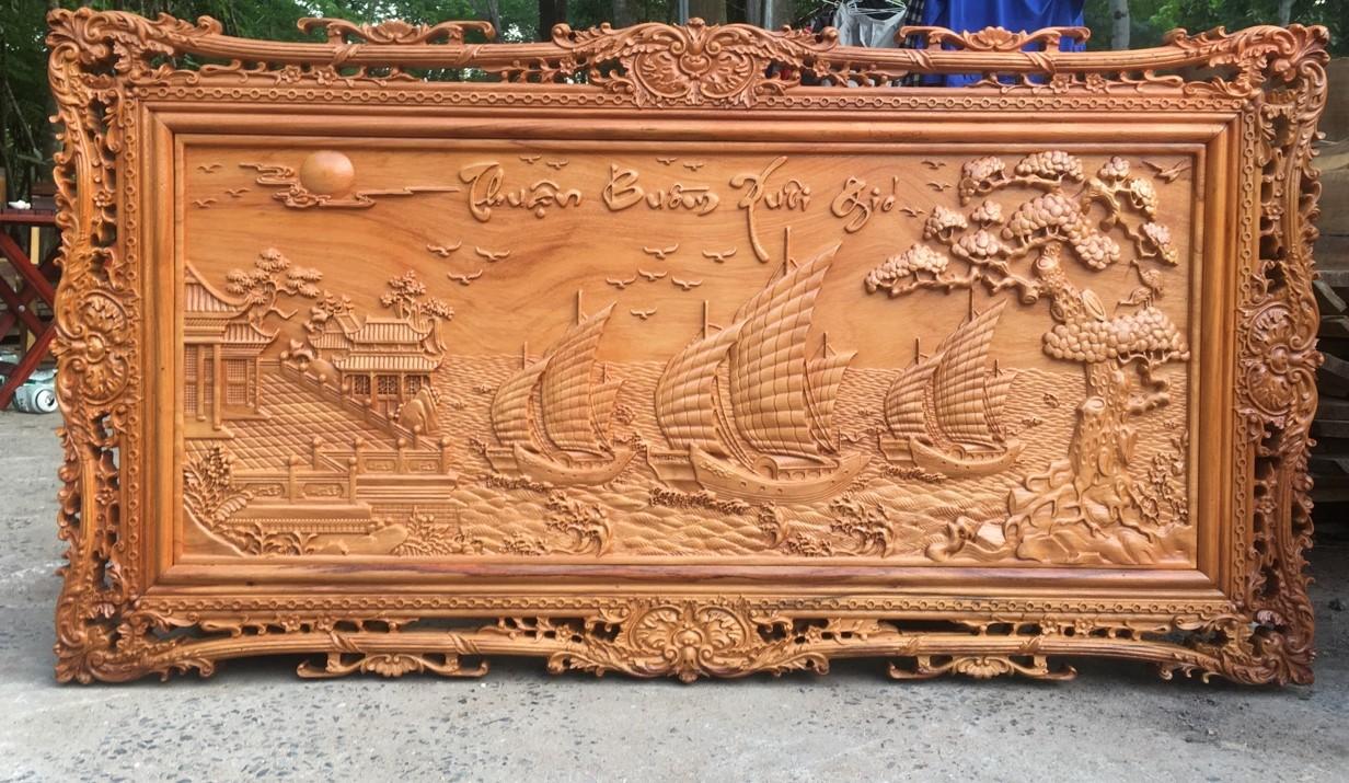 Tranh Thuận Buồm Xuôi Gió gỗ Gõ đỏ