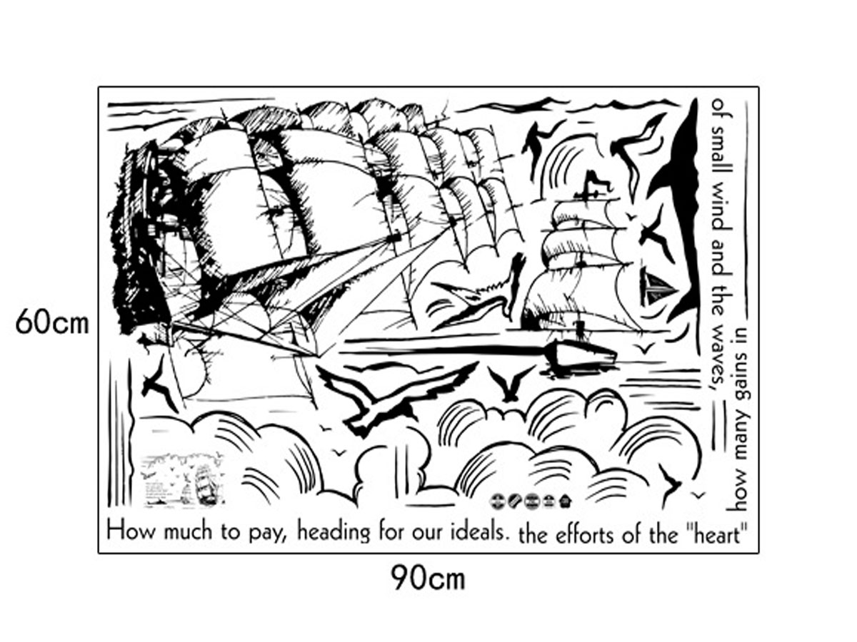 decal dán tường thuyền buồm đen