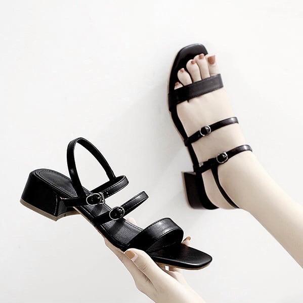 Sandal nữ quai ngang nữ đế vuông 3p cá tính thời trang hàng VNXK cao cấp - S33
