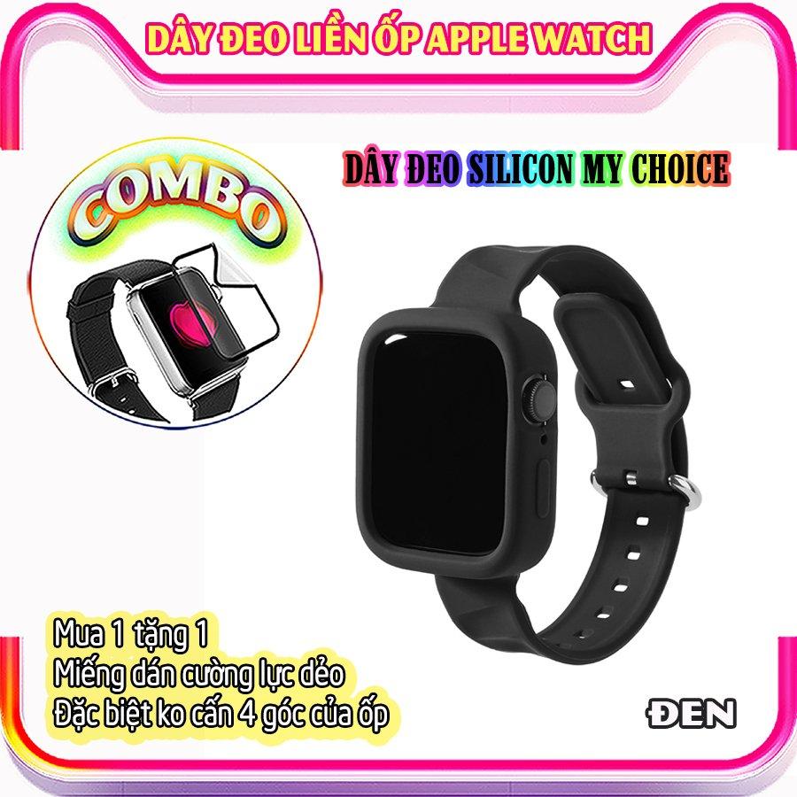 Dây Đeo liền ốp dành cho Apple Watch size 38/40/42/44mm silicon my choice - Đen (tặng dán KCL theo size)