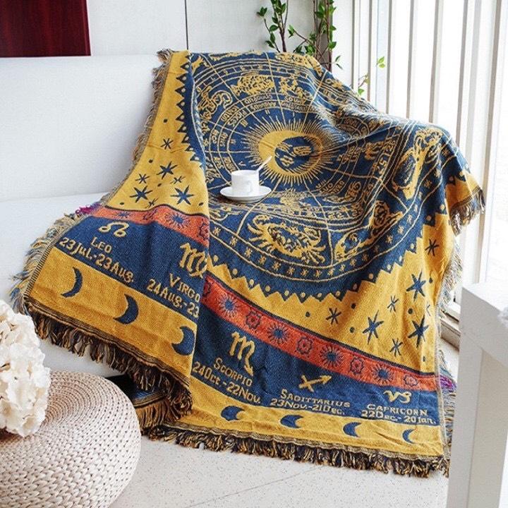 Carpet thảm trang trí nhà - Thảm Vintage - Thảm Thổ Cẩm 180x230cm Cung Hoàng Đạo