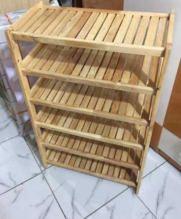 Kệ Giày Dép 6 Tầng Dài  63cm Gỗ Cao Su