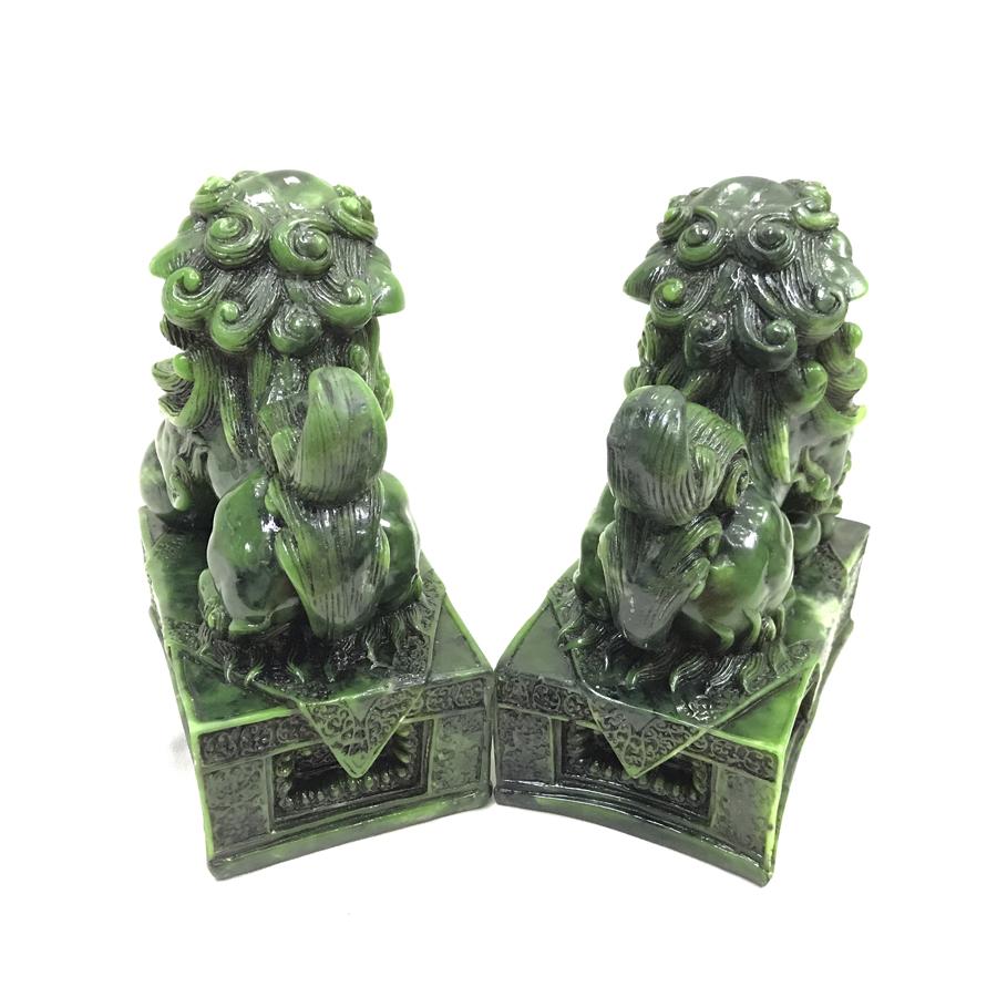 Cặp tượng đá trang trí kỳ lân - size lớn - màu xanh lục bích