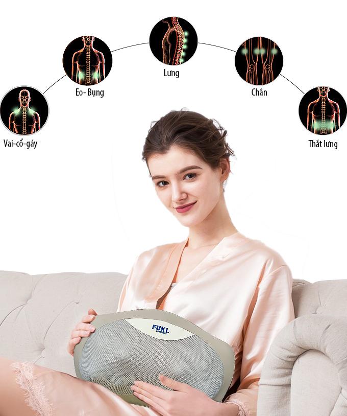 Gối massage hồng ngoại đau vai cổ lưng Shiatsu Fuki FK-568E (Pin sạc)