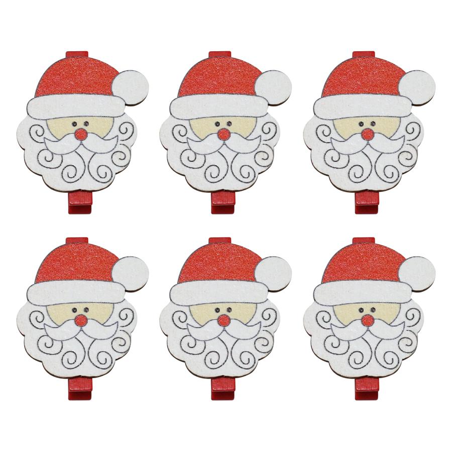 Bộ 6 Kẹp Ảnh Gỗ Trang Trí Giáng Sinh - Ông Già Noel