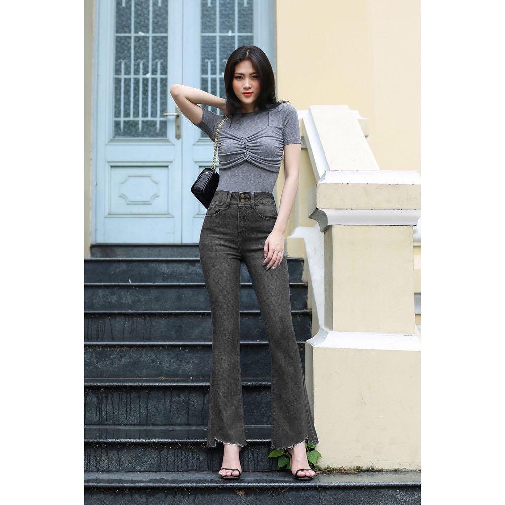 Quần Jeans Nữ Ống Loe Dài Lai Kiểu Co Giãn Cao Cấp