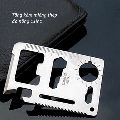 Kính lúp mini cầm tay 100X có đèn LED hỗ trợ để soi mẫu (Tặng kèm miếng thép đa năng 11in1)