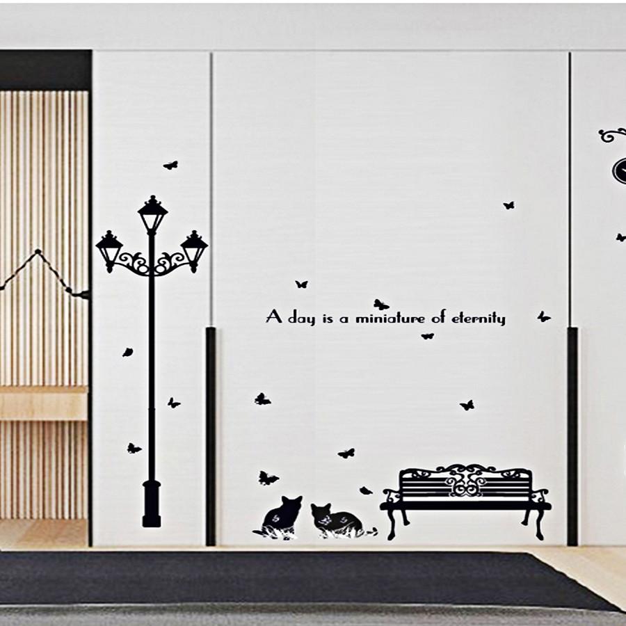 Decal dán tường mèo và cột đèn đen sk9180