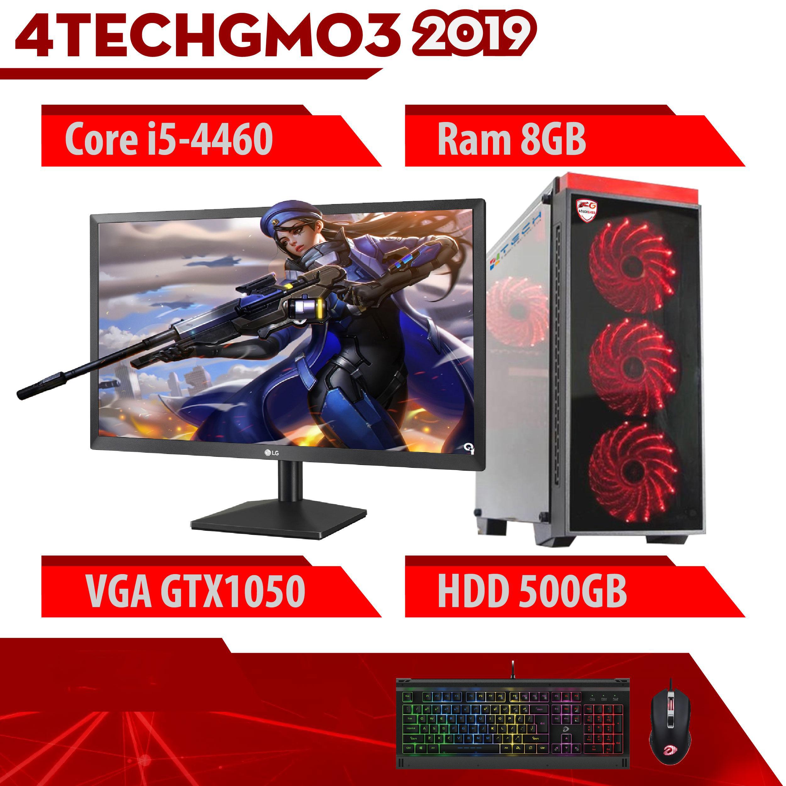 Bộ máy tính để bàn chơi Game VIP đời cao cấu hình khủng giá tốt 4TechGM03 2019 Core i5, Ram 8GB, SSD + HDD, Vga 1050, PC Gaming kèm màn hình 22inch. - Hàng Chính Hãng.