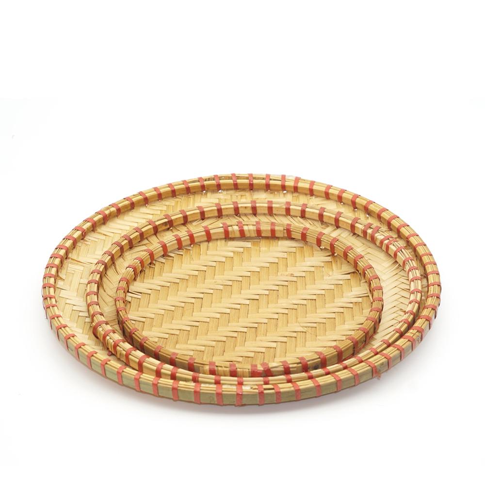 Mẹt tre viền đỏ, đựng món ăn Việt, đan thủ công (D:15,18,20,25,30,35,40,45,50,60cm)