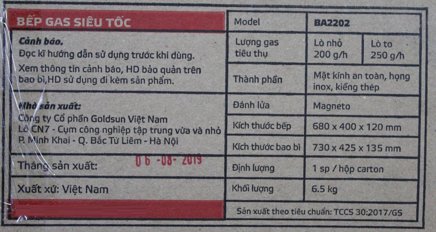 Bếp Gas Dương Đôi Siêu Tốc Mặt Kính Goldsun BA2202 - Chính Hãng