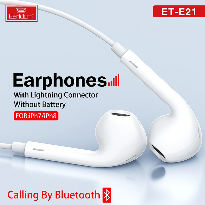 Tai Nghe Bluetooth Chân Lightning Earldom ET-E21 Cho iPhone 7/7P/8/8P/X/XS/XS Max/11/Pro Max - Hàng Chính Hãng