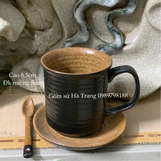 Set cốc đĩa gốm sứ Bát Tràng cao cấp men đen lòng nâu gốm hạt tiêu dung tích 250 ml