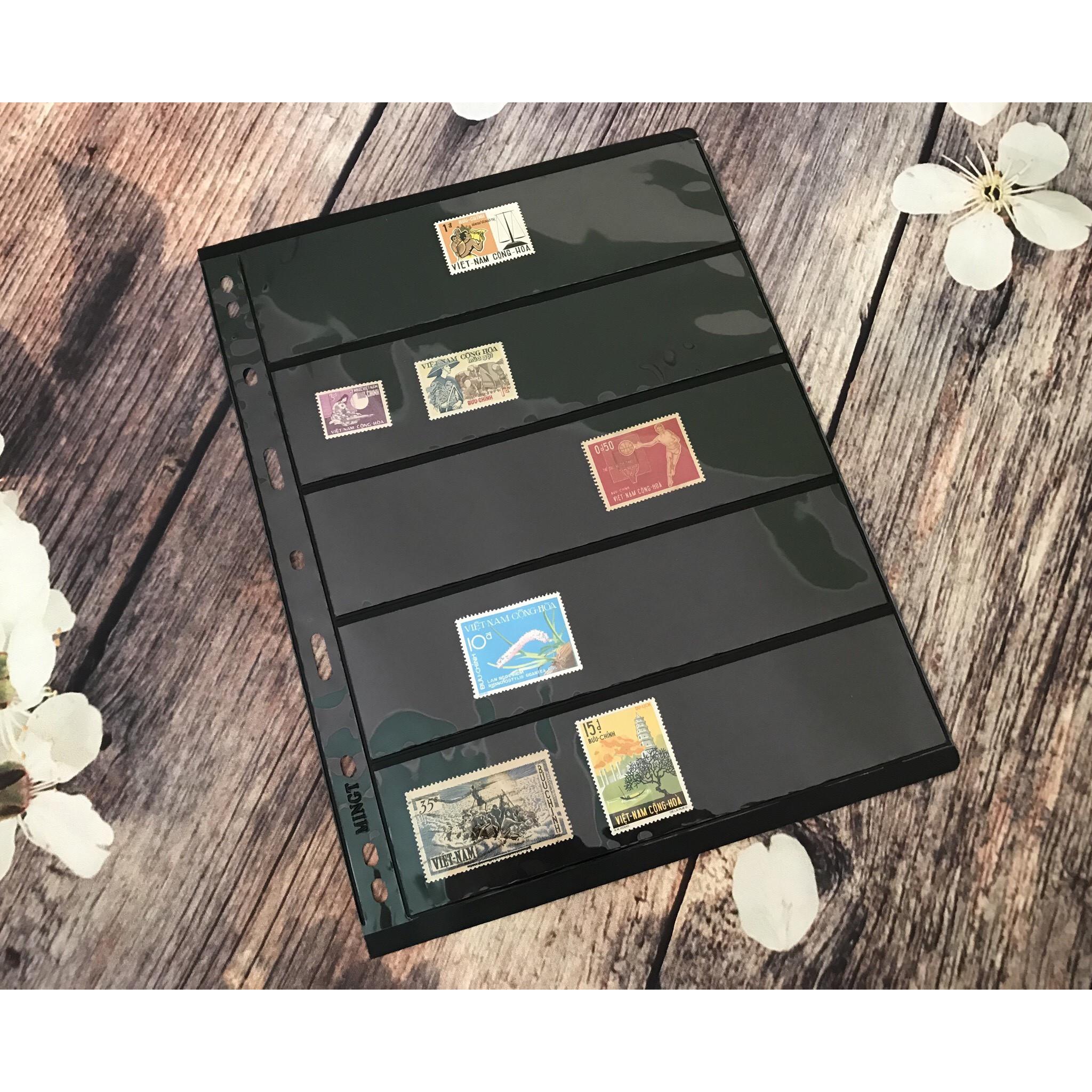 Phơi tem nền đen 5 ngăn bảo quản tem sưu tầm dành cho nhà sưu tập