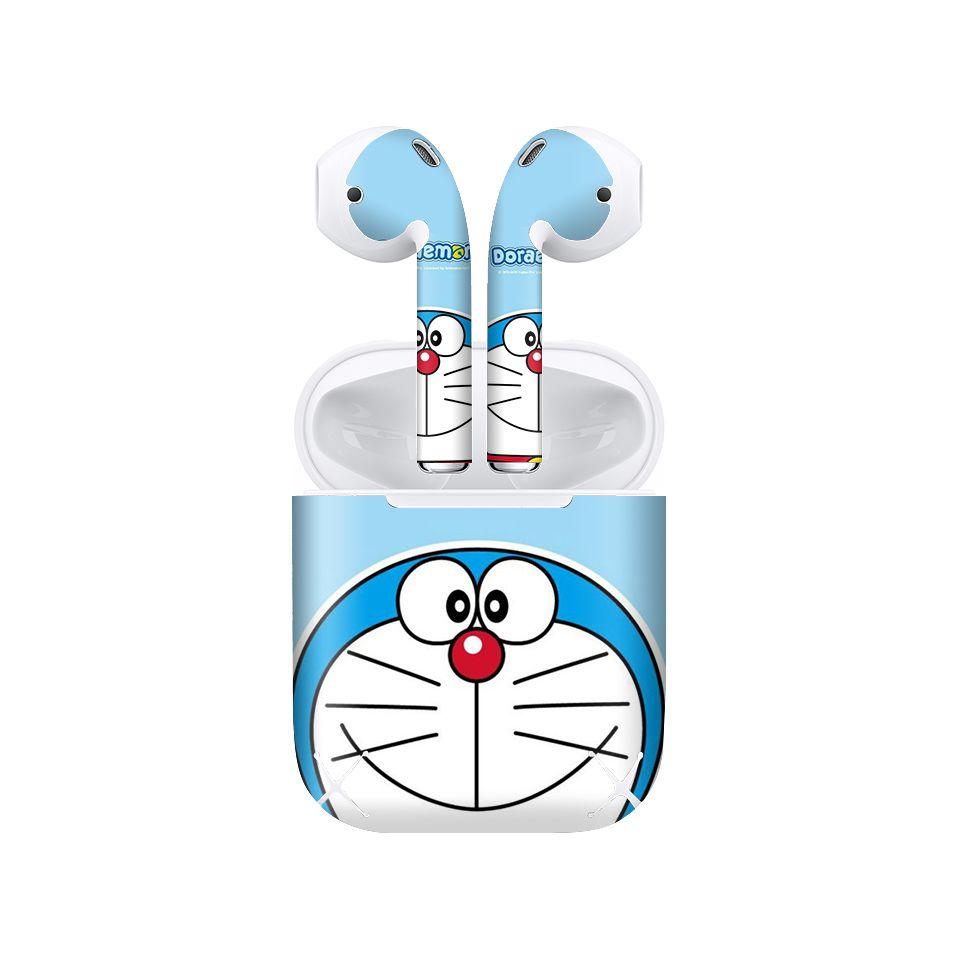 Miếng dán skin chống bẩn cho tai nghe AirPods in hình Doremon - Dor004 (bản không dây 1 và 2)