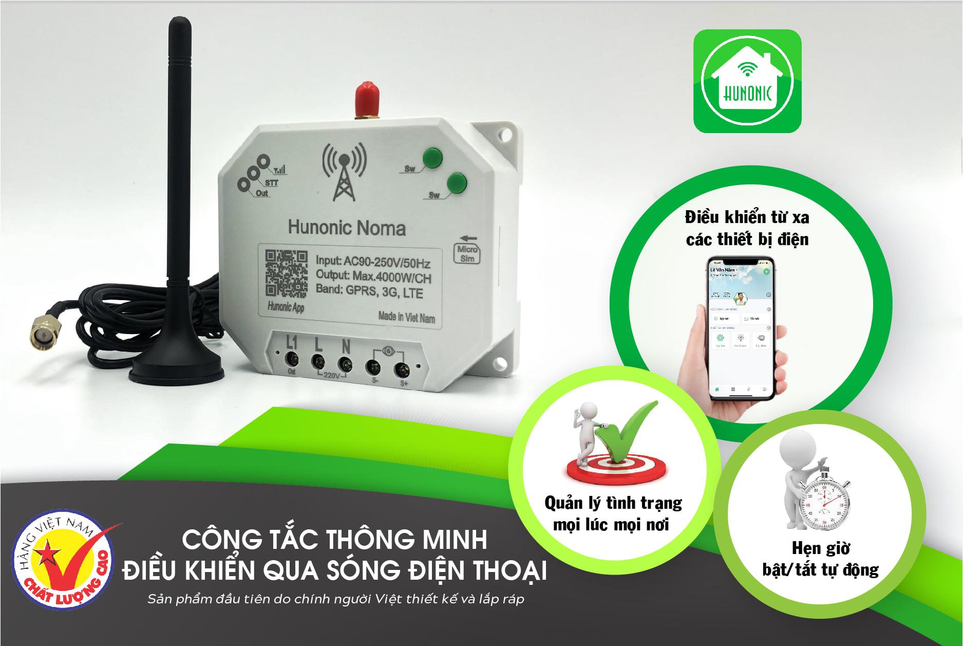 Công tắc thông minh Hunonic Noma Điều khiển mọi thiết bị từ xa qua điện thoại dùng sim- Hàng Việt Nam Chất Lượng Cao 6