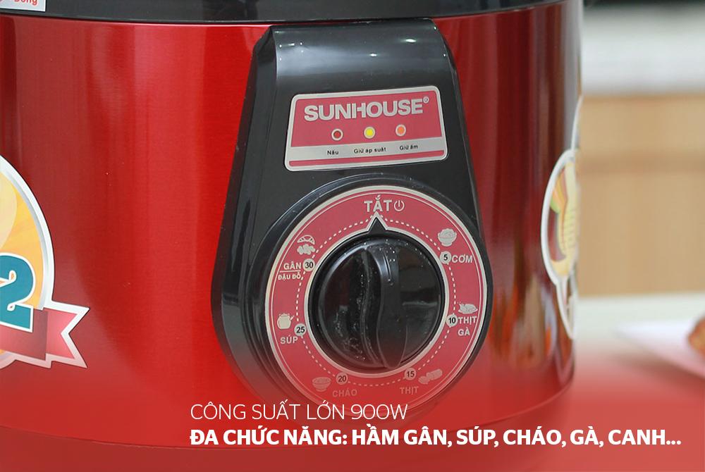 Nồi Áp Suất Điện Đa Năng Sunhouse DNDSHD1552 - 5L (Đỏ Đen) - Hàng chính hãng