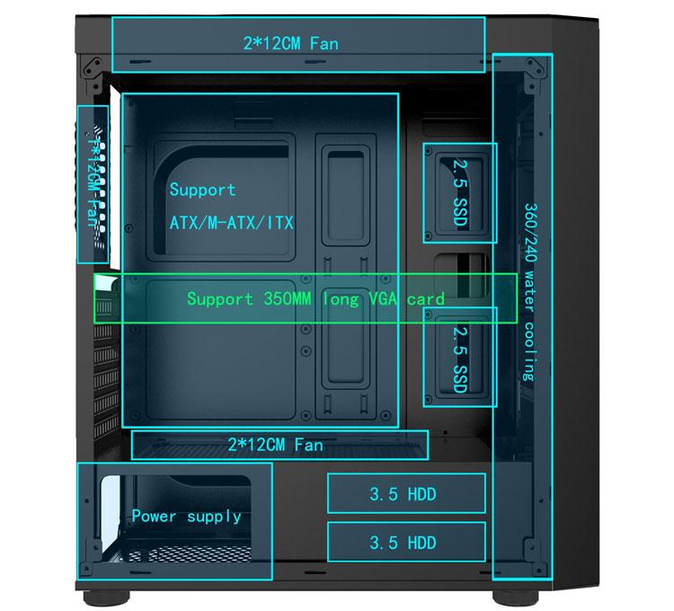 Vỏ Case máy tính gaming Forgame Mirage 2000 mặt kính cường lực (chưa có Fan)
