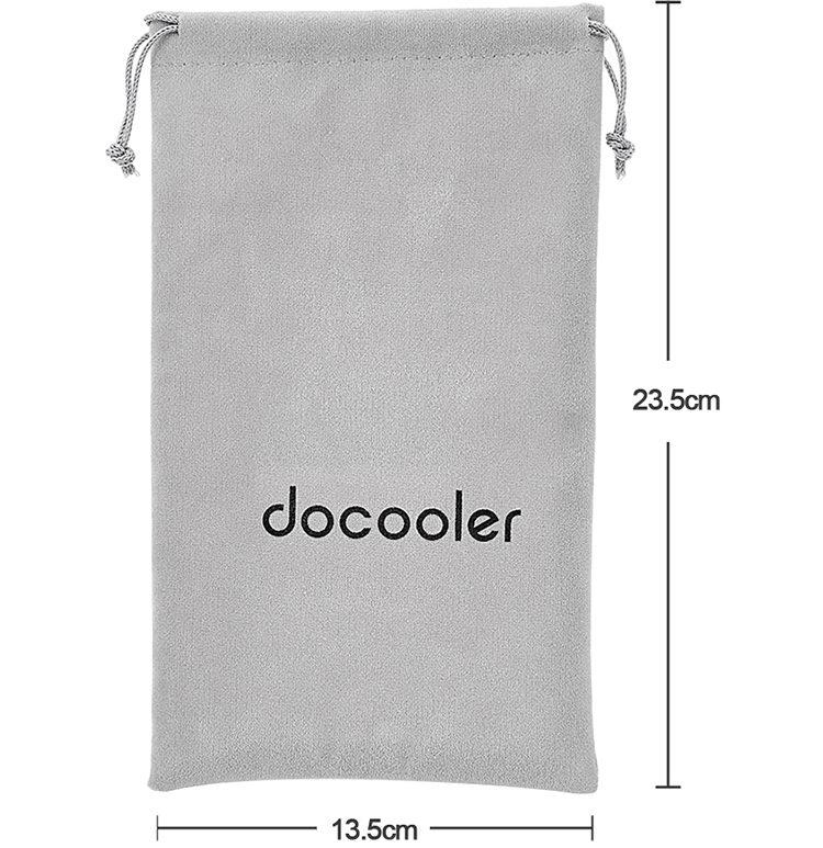 Docooler Storage Bag Carrying Bag Small Drawstring Flocked Protection Pouch Grey 13.5*23.5CM