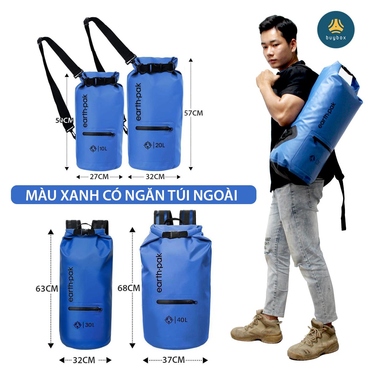 Phân loại Balo chống nước đi phượt chất liệu 500D PVC sản xuất tại Việt Nam - 10L, 20L, 30L, 40L, 55L - buybox - BBPK161 màu xanh có ngăn ngoài